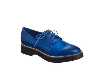 Blue Leather Oxford Shoes / Women Wedge Shoes / Tie Shoes / Lacing Shoes / Flat Shoes / Antelope Shoes / Casual Shoes / Derby Shoes - 286