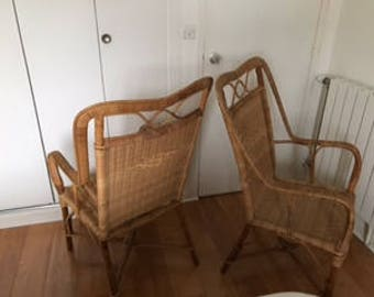Pair of wicker and rattan armchairs