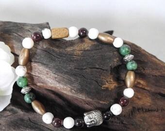 Natural Howlite, Garnet & Ruby in Zoisite healing gemstone buddha stretch bracelet