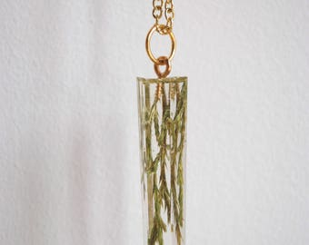 fir tree needles in crystal pendant