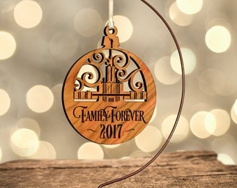 LDS Temple Ornament, Atlanta, Family Forever (or Customize) in Laser Cut Hardwood