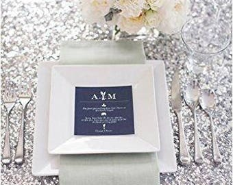 "72x72"" Silver Sequin Square Overlay Tablecloth Table Cloth Topper Cake Table Sweet Heart Wedding Sparkly Glittery Silver Wholesale Sale Fast"