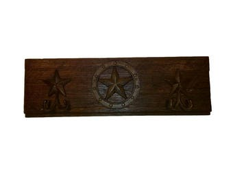 """Rustic Coat Rack, Cast Iron State of Texas Seal, 23""""x7.5"""" Reclaimed Hardwood Lapboard from an Old Texas Farmhouse-Cast Iron Star Coat Hooks"""