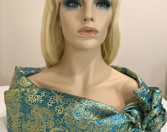 Elegant turquoise and gold brocade shawl and head wrap