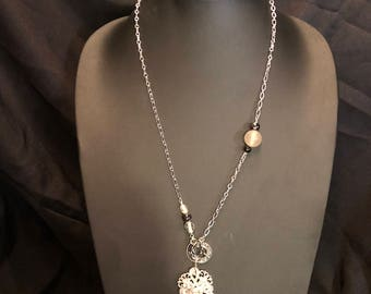 Beautiful Steampunk crystal pendant necklace