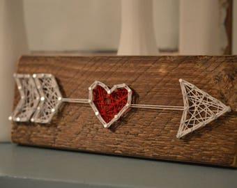 Valentine String Art, Valentine's Day Sign, Cupid's Arrow, Valentine Arrow, Rustic Decor, String Art, Valentine's Day Decor, Wood Sign