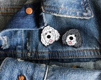 gray doodle dog soft enamel lapel pin
