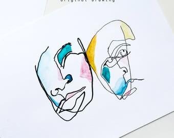 """9x12"""" Blind Contour Modern Art Print, Unframed, Watercolor Wall Art, Art Print, Line Drawing"""