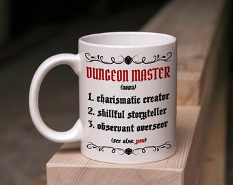 D&D Mug Gift - Good Dungeon Master Definition - 11 Ounce Coffee Tea Mug Perfect for DM Game Master DnD Valentine's Day Present