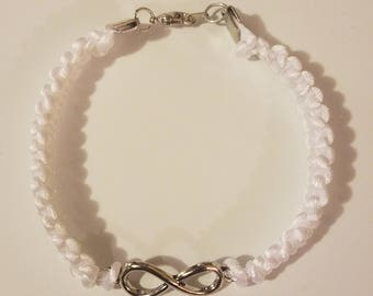 Infinity braided white bracelet