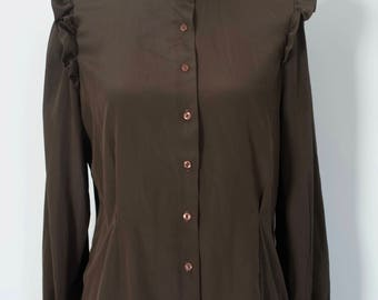 1980s victorian style brown ruffle shoulder high neck blouse