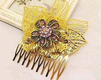 Flower Hair Comb, Gold Hair Comb, Gold Bridal Hair Comb, Rhinestone Hair Comb, Gold Bridal Hair Accessory, Bridal Headpiece Bridal Hairpiece