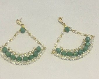 Green Chandelier Earrings