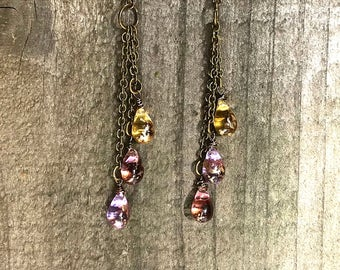 3 teardrops fire polished glass beads, cascade drops, dangling teardrops, antique brass chain