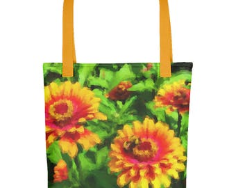 """Tote Bag: Vibrant, Modern Illustration """"Bee in Flower Bed"""" by Malinee Ganahl.  Bright red, yellow, green."""