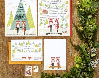 Woodland Fox Wedding Invitation Printable Set of 4
