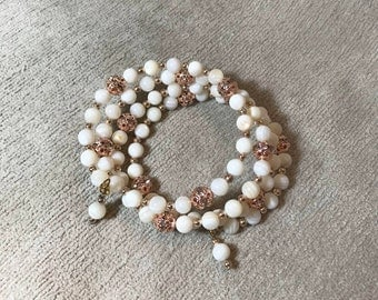 White and Rose Gold memory wire bracelet