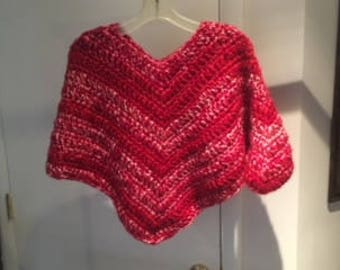 Variegated Red And Pink Child To Teen Poncho