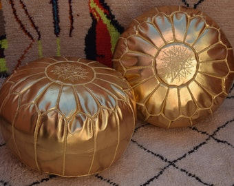 Set of 2  Embroidered moroccan pouf  furniture ottoman design poufs round gold poufs