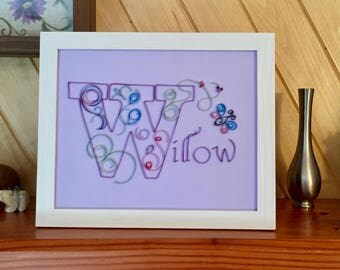 Whimsical Custom Quilled Name or Initial