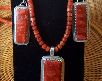 Apple Coral Santa Domingo Necklace and Earrings