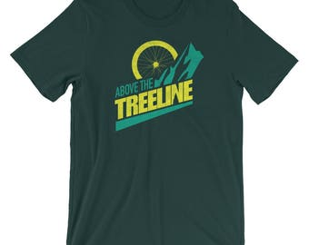 Bike Above The Treeline (Yellow/Green), An Outdoor Hiking and Mountain Biking T-shirt for the Adventurer