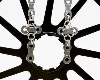 Bicycle Chain Cross Earrings