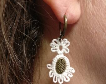 tatted earring, lace earring