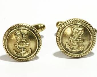 Navy Vintage Brass Cuff links - Uniform buttons