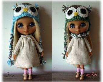 Owl cap for Blythe-owl hat for Blythe