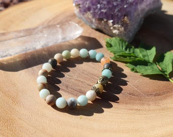 Unpolished amazonite beaded bracelet. Buddha bracelet