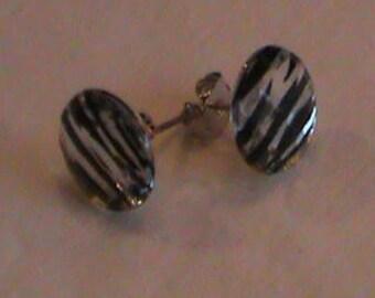 Black striped studded earrings