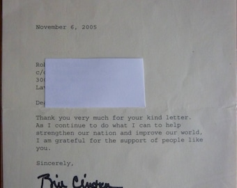 President Bill Clinton Signed Letter Office