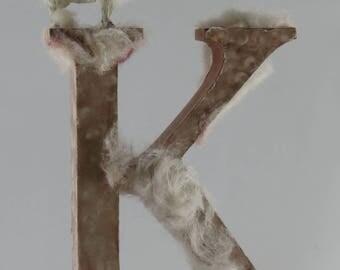 Letter K in sheep's fur * wood * a unique
