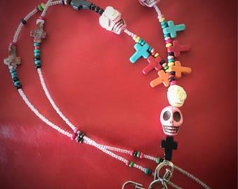 Sugar Skull & Howlite Lanyard