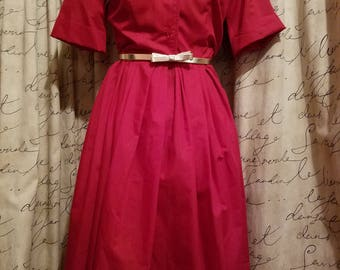 1950's Ruby Red Shirt Belted Shirt Dress