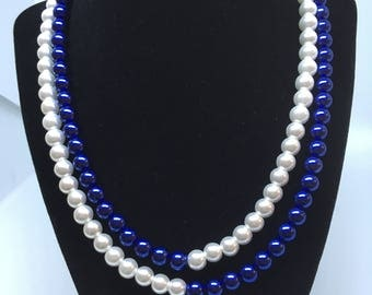 Blue and white; white and blue necklace (#14)