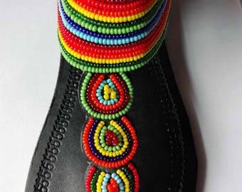 """Bead & Leather Sandal from Kenya - """"Nairobi"""" Model"""