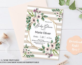 Gold Geometric Baby Shower Invitation, Flowers Baby Shower Invitation, Floral Baby Shower Invitation Printable, Baby Shower Invitation Girl