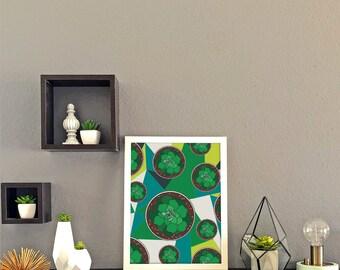 Succulents Geometric Background Print