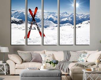 Ski Wall Art Ski Canvas Print Ski Large Wall Decor Ski Canvas Art Ski Painting Ski Poster Print Ski Home Decor Gift for She Artwork