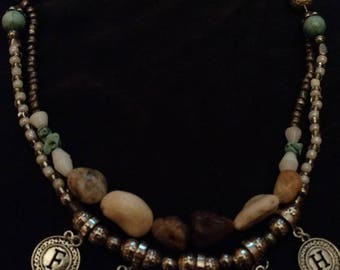 Handmade River Rock Beaded Faith Charm Jewelry Set