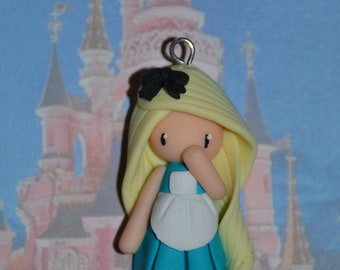 Born in polymer clay representing Alice - Disney Princess Collection - handmade jewelry