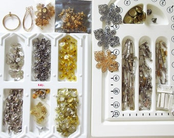 Jewelry Findings Mixed Lot Earring Posts, Bar Pins, Cord Coils, Misc