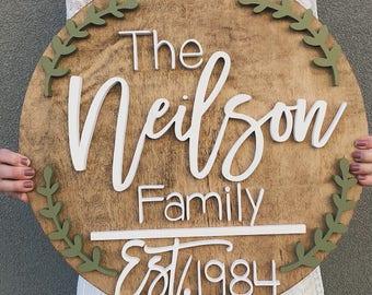 """Wood Name Sign l 24"""" l Leaf Design 1"""