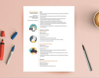 Modern Professional Resume CV Template - InDesign - Easy to Customize - Icons Included - Great for Graphic Designers - Immediate Download