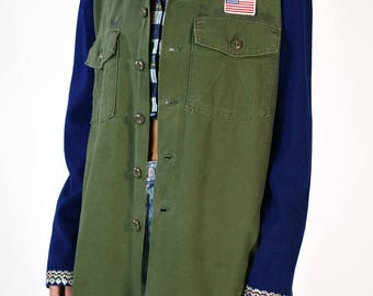 Redesigned Vintage US Military Utility Shirt X Vintage St John Knit Sleeves Jacket