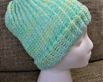 Shimmery Green, Yellow, and White Loose-Knit Hat