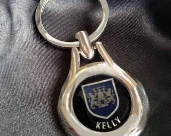 KELLY Chrome Key Ring Fob Keyring Scottish Irish Clan Gift Idea