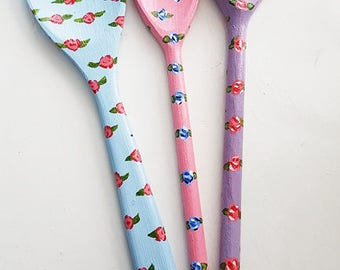 Hand Painted Floral Spoons Pack of Three